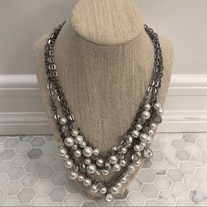 Silver Pearl Layered Necklace